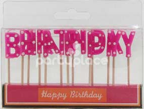 Happy Birthday Pink Polka Dot Candle