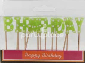 Happy Birthday Lime Polka Dot Candle