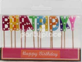 Happy Birthday Bright Polka Dot Candle