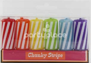 Chunky Stripe Candles pkt 6