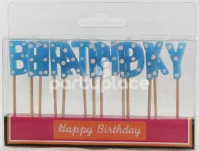 Happy Birthday Blue Polka Dot Candle