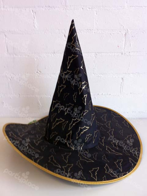 Bat Gold Witches Hat