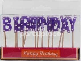 Happy Birthday Purple Polka Dot Candle